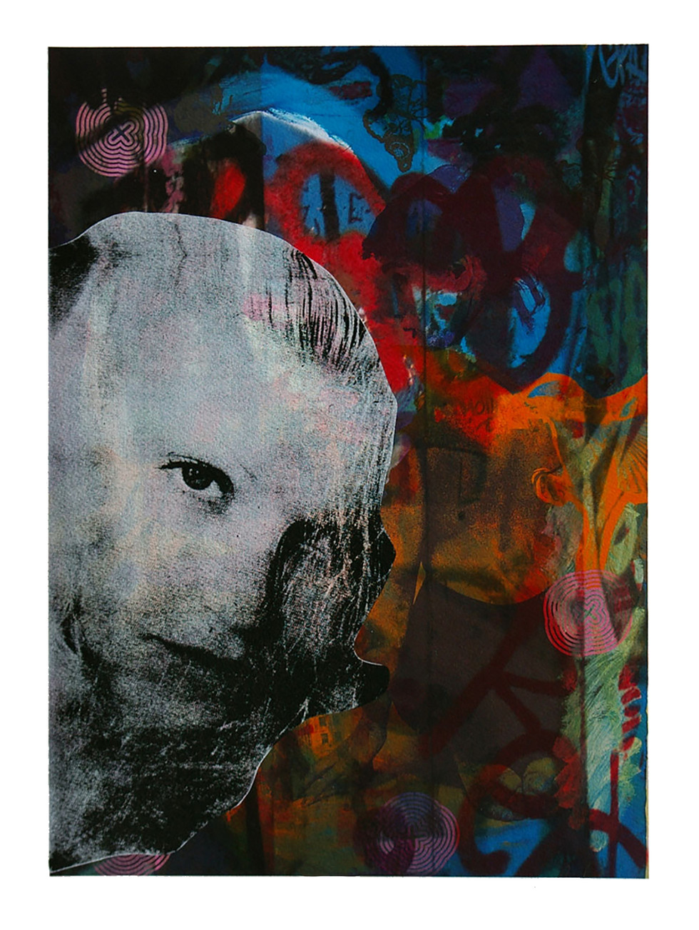 Jane Sampson 'Ghost' Digital print (background) with silkscreen 30 x 42cm personal project.
