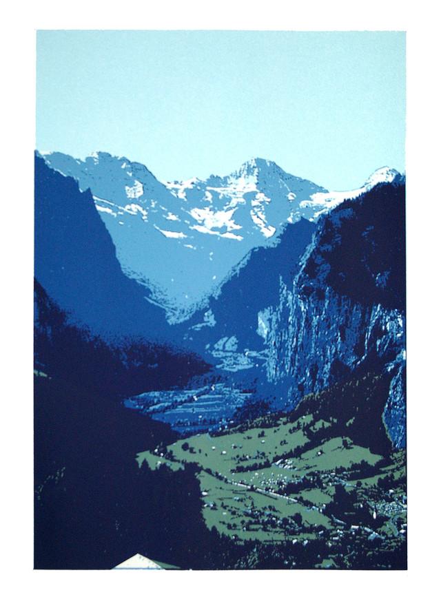 Jane Sampson 'Lauterbrunnen' Silkscreen 56 x 76cm Edn 20