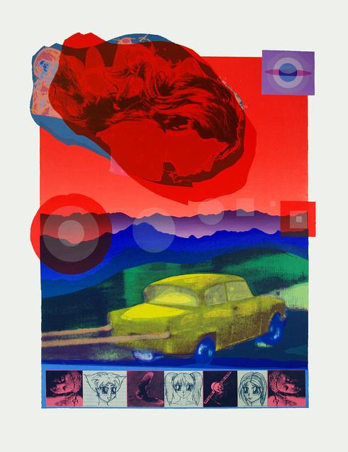 Jane Sampson 'Yellow Car' Silkscreen 56 x 76cm Edn 18