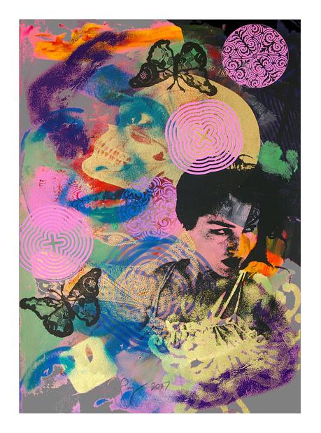 Jane Sampson 'Scull' Screenprint with dye and pigment 38 x 56cm Monoprint