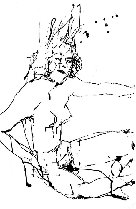 Jane Sampson Life Drawing Indian ink on paper 50 x 60cm