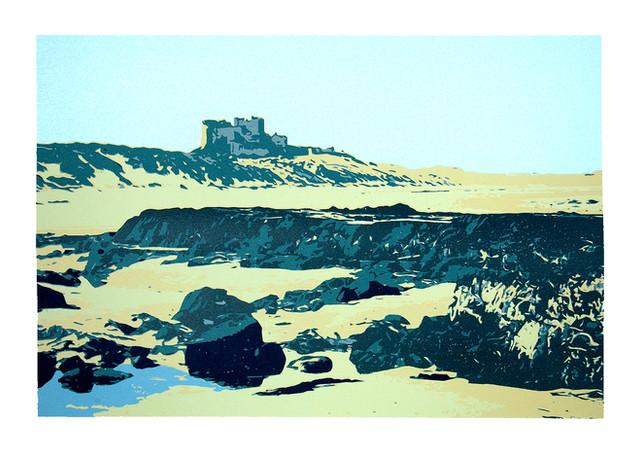 Jane Sampson 'Bamburgh Beach' Silkscreen 56 x 76cm Edn 20