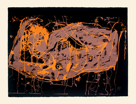 Jane Sampson 'Orange Splash' 76 x 56cm Edn 20