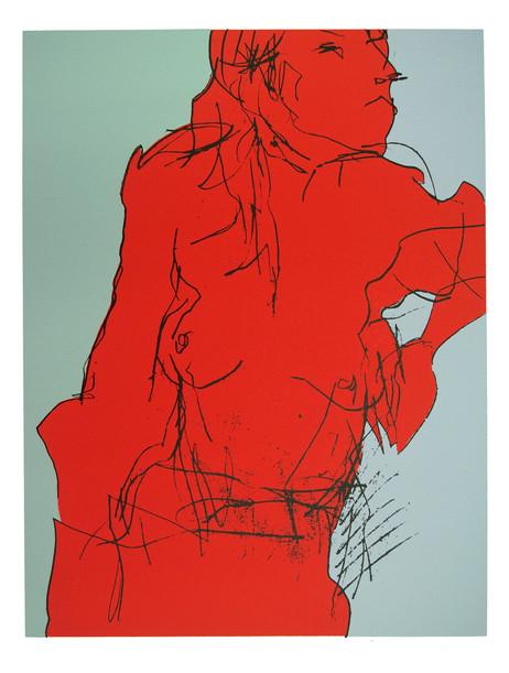 Jane Sampson 'Red Nude' Screenprint 56 x 72cm Edn 20