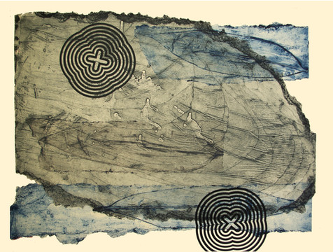 Jane Sampson 'Wood and Bamboo' Collagraph and Silkscreen 76 x 56cm test piece.