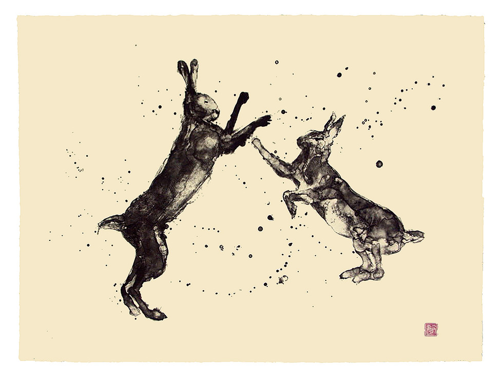 Jane Sampson 'Boxing Hares' Silkscreen Personal Project 56 x 76cm edn 20