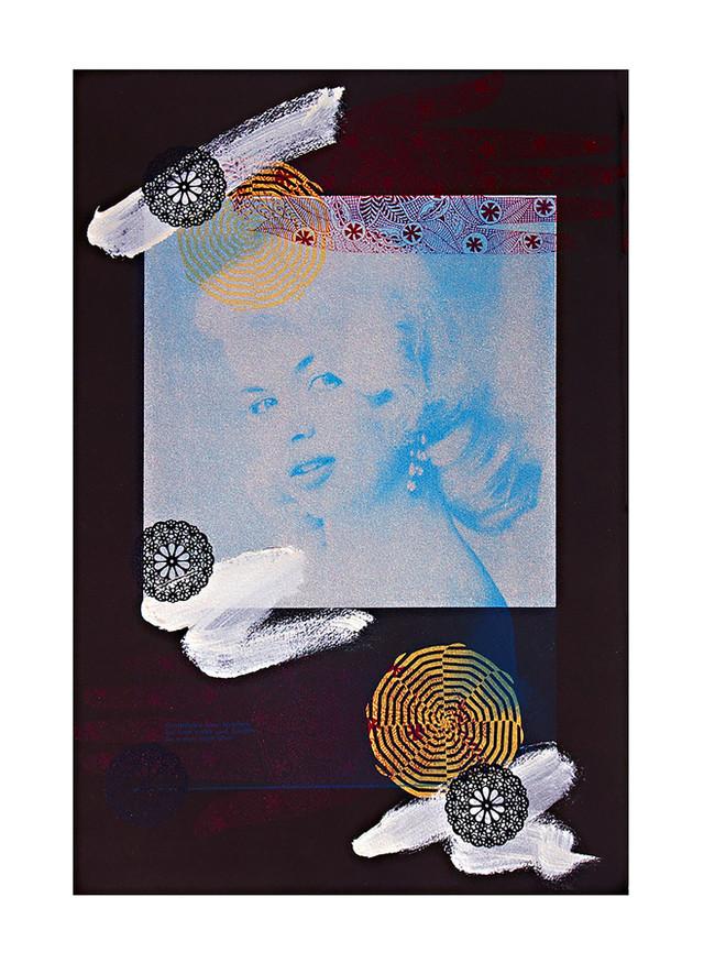 Jane Sampson 'The Silver Screen' Screenprint and acrylic paint 56 x 76cm Edn 15.