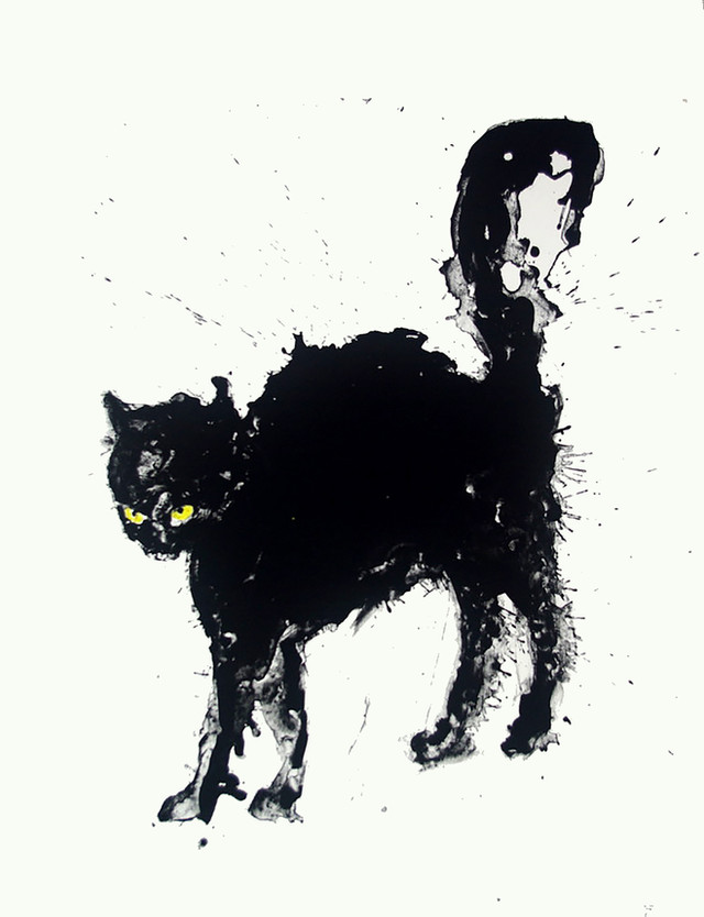 Jane Sampson 'Black Cat' Silkscreen Personal Project 56 x 76cm Edn 20