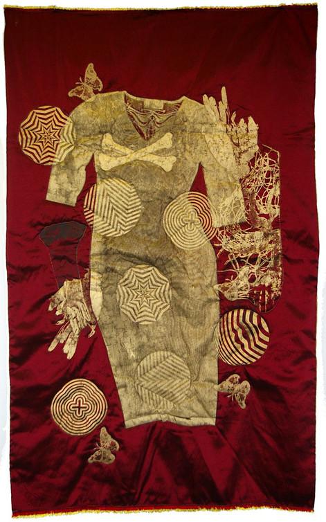 Jane sampson Untitiled Screenprint, gold pigment on quilted taffeta. 100 x 175cm  unique piece.