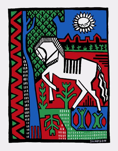 Jane Sampson 'White Horse' Card Design Gouache 21 x 30cm