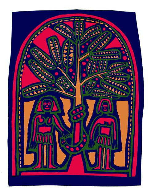 Jane Sampson 'The Serpent' T shirt/card design Gouache 21 x 30cm