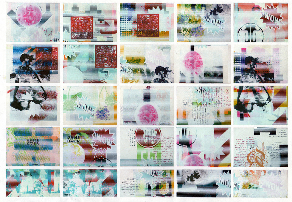 Collaborative Print Installation With artist Stephan Hoffman For 'Analogue Fest' in den Haag 2011. 20 prints, each 56 x 76cm, swapped and printed on by multiple artists from Inkspot Press  to produce a mural.