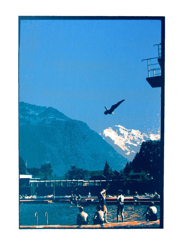 Jane Sampson 'Diver' Silkscreen 30 x 40cm Edn 20