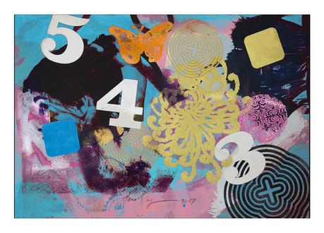 Jane Sampson 'Five Four Three' Screenprint, gold pigment and gloss enamel. 38 x 56cm Monoprint