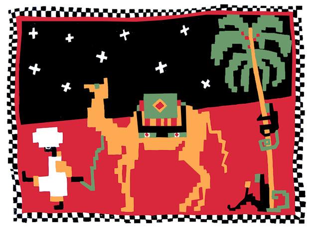 Jane Sampson 'Camel' T shirt/card design 30 x 21cm