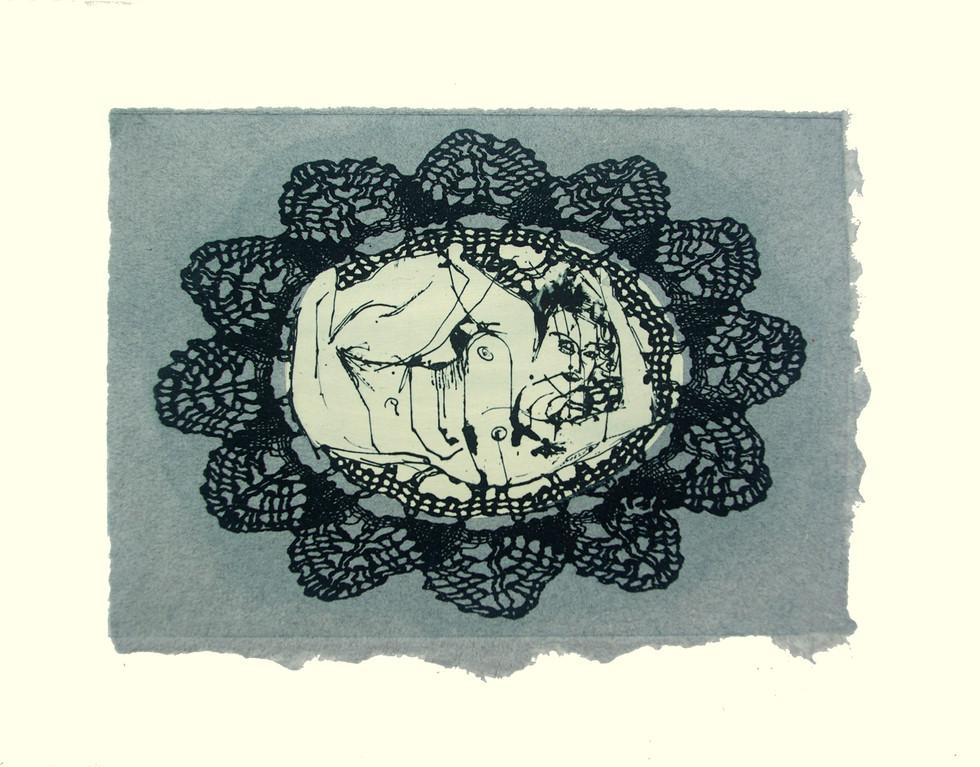 Jane Sampson 'Blackwork' Photo etching with chine collé  21 x 30cm Edn 20