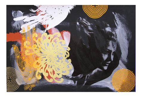 Jane Sampson 'Dark Screen Star' Screenprint on black somerset paper 56 x 38cm Monoprint
