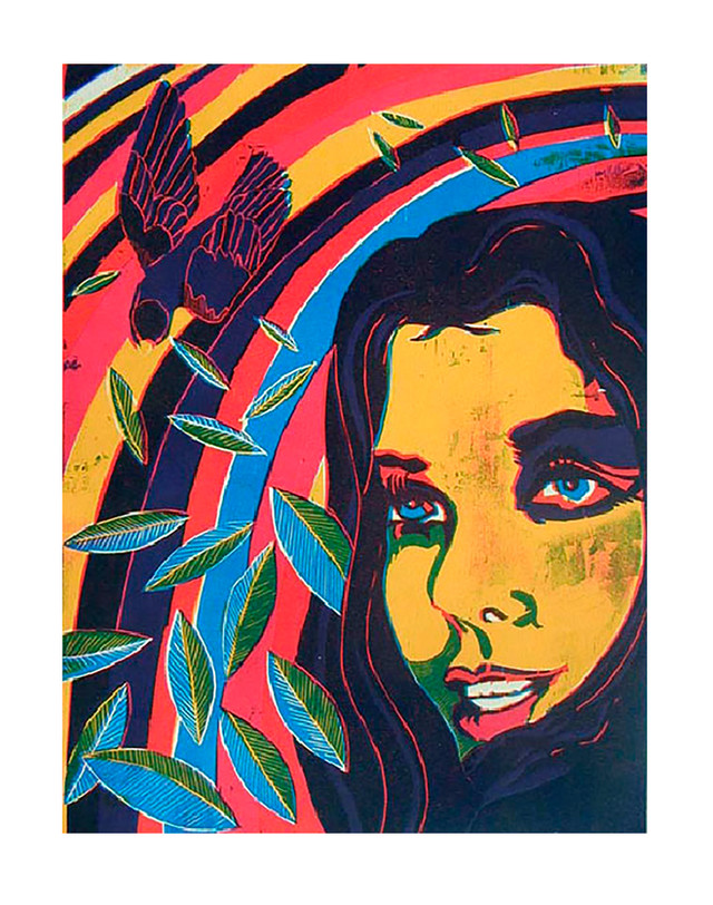 Jane Sampson 'Swoop' Woodcut 50 x 60cm Edn 20