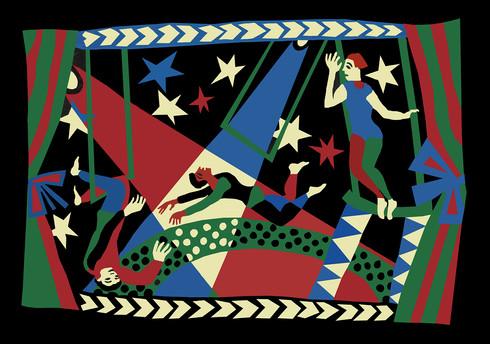 Jane Sampson 'Circus' T shirt/card design Gouache 21 x 30cm