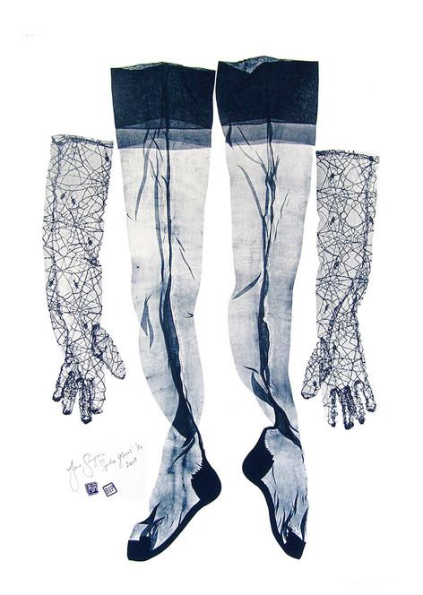 Jane Sampson 'Spider Gloves' Screenprint 100 x 70cm edn 10