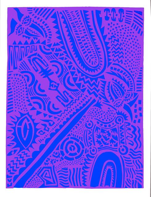 Jane Sampson '1986' Screenprint  from cut paper designs 76 x 1120cm Edn 10