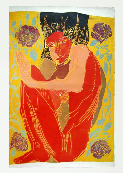 Jane Sampson  'Bed of Roses' Linocut (on Japanese paper) 50 x 70cm Edn 5