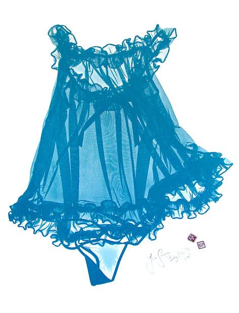 Jane Sampson 'Baby Blue' Screenprint 70 x 100cm. edn 10