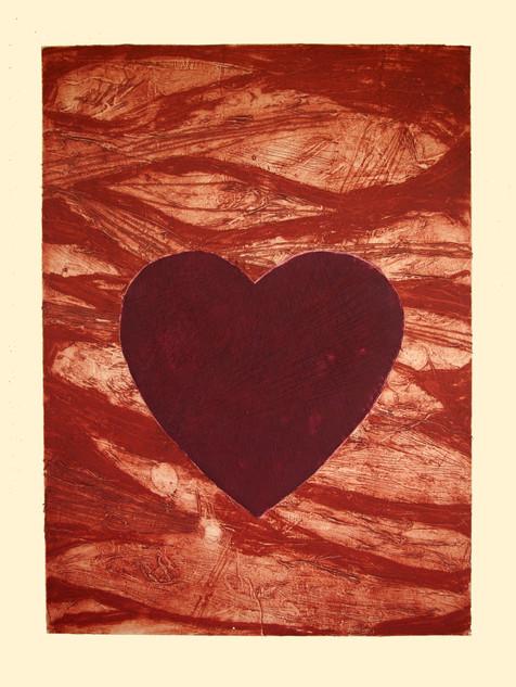 15. Jane Sampson 'Heart' Collagraph 56 x