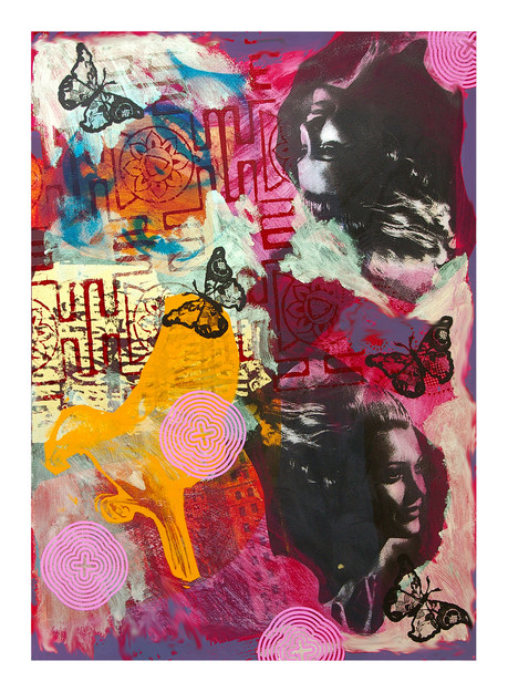 Jane Sampson 'Topsy Turvy' Screenprint with acrylic paint and gloss enamel 38 x 56cm Monoprint