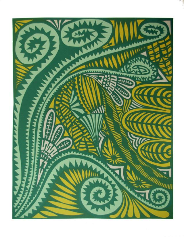 Jane Sampson 'Garden' Screenprint from cut paper designs 76 x 1120cm Edn 10