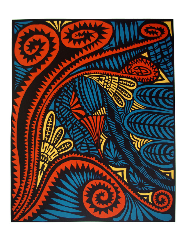 Jane Sampson 'Red Garden' Screenprint from cut paper designs 76 x 1120cm Edn 10