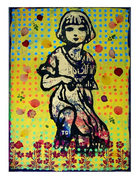 Jane Sampson 'Golden Girl' Screenprint, petals, sticky dots and acrylic paint, gloss enamel 56 x 76cm Variable edn 3