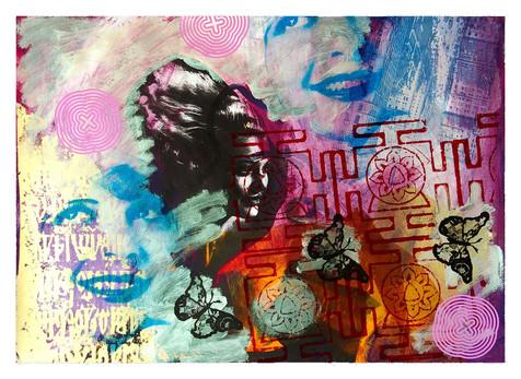 Jane Sampson 'Purple Haze' Screenprint 76 x 56cm Monoprint