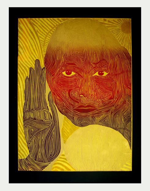 Jane Sampson 'Om' Woodcut 50 x 60cm