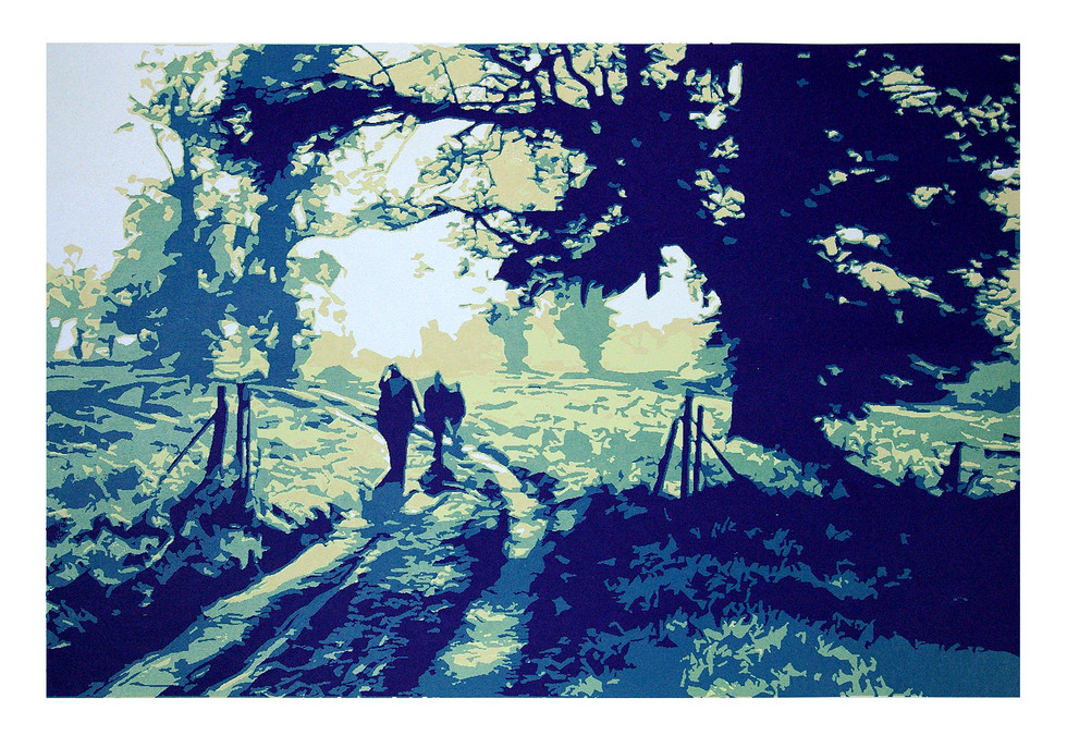 Jane Sampson 'Sunday Walk' Silkscreen 76 x 56cm Edn 20