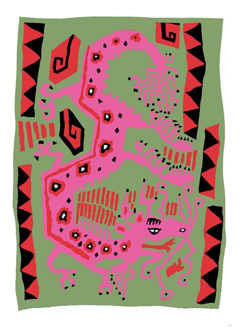 Jane Sampson 'Dragon' T shirt/card design Gouache 21 x 30cm