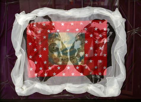 Jane Sampson 'Conversation' Screenprint, collage, applique on velvet and silk chiffon 80 x 60cm box Unique piece