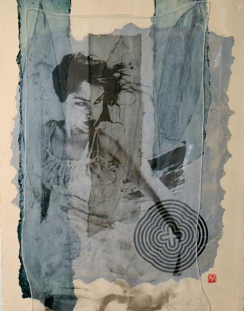 'Woman and the Sea' Collagraph, silkscreen and silk chiffon. 56 x 76 unique piece.