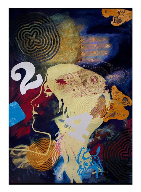 Jane Sampson 'Two Four' Screenprint with pigment and gloss enamel 38 x 56cm Monoprint