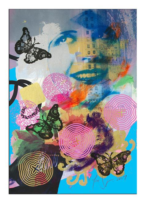 Jane Sampson 'Encyclopaedia' Screenprint with dye, pigment and acrylic paint 38 x 56cm Monoprint