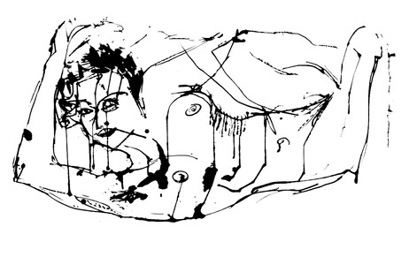 Jane Sampson Life Drawing Indian ink on paper 60 x 50cm