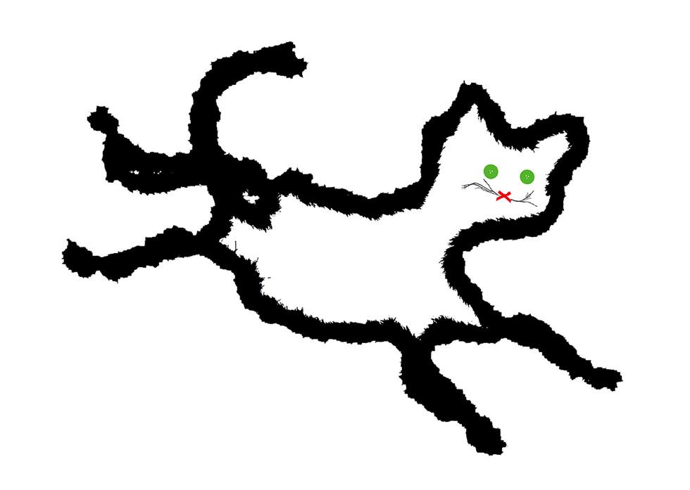 Jane Sampson 'Happy Cat' Silkscreen 1120 x 76cm 10 Edn 10 also small version 42 x 29.7cm edn 50.