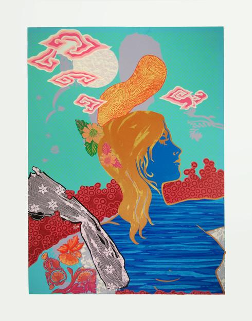 Jane Sampson 'Tin Moon' Silkscreen 76 x 1120cm Edn 10