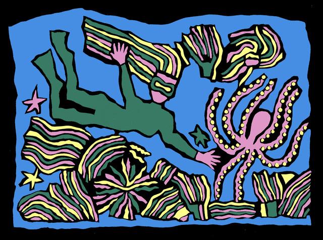 Jane Sampson 'Underwater' T shirt/card design Gouache 30 x 21cm