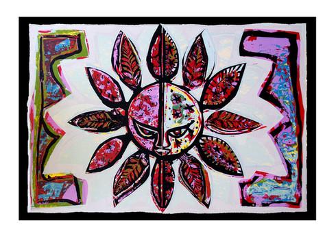 Jane Sampson 'Sun' Card design Silkscreen 42 x 29cm