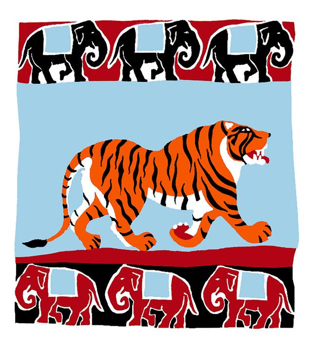 Jane Sampson 'Tiger' T shirt/card design Gouache 21 x 25