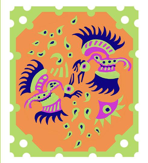 Jane Sampson 'Fighting Birds' Card Design Gouache 21 x 30cm