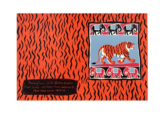 Jane Sampson 'Tiger' Card Design Silkscreen 18 x 25cm