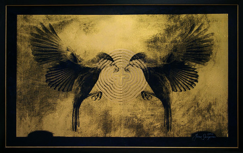 Jane Sampson 'Rauchenbirds' screenprint on board with prussian blue and gold pigment and gloss enamel. 95 x 62cm edn 8