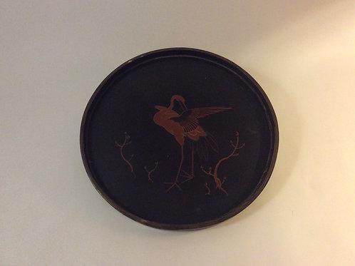 plateau en bois  peint oiseau